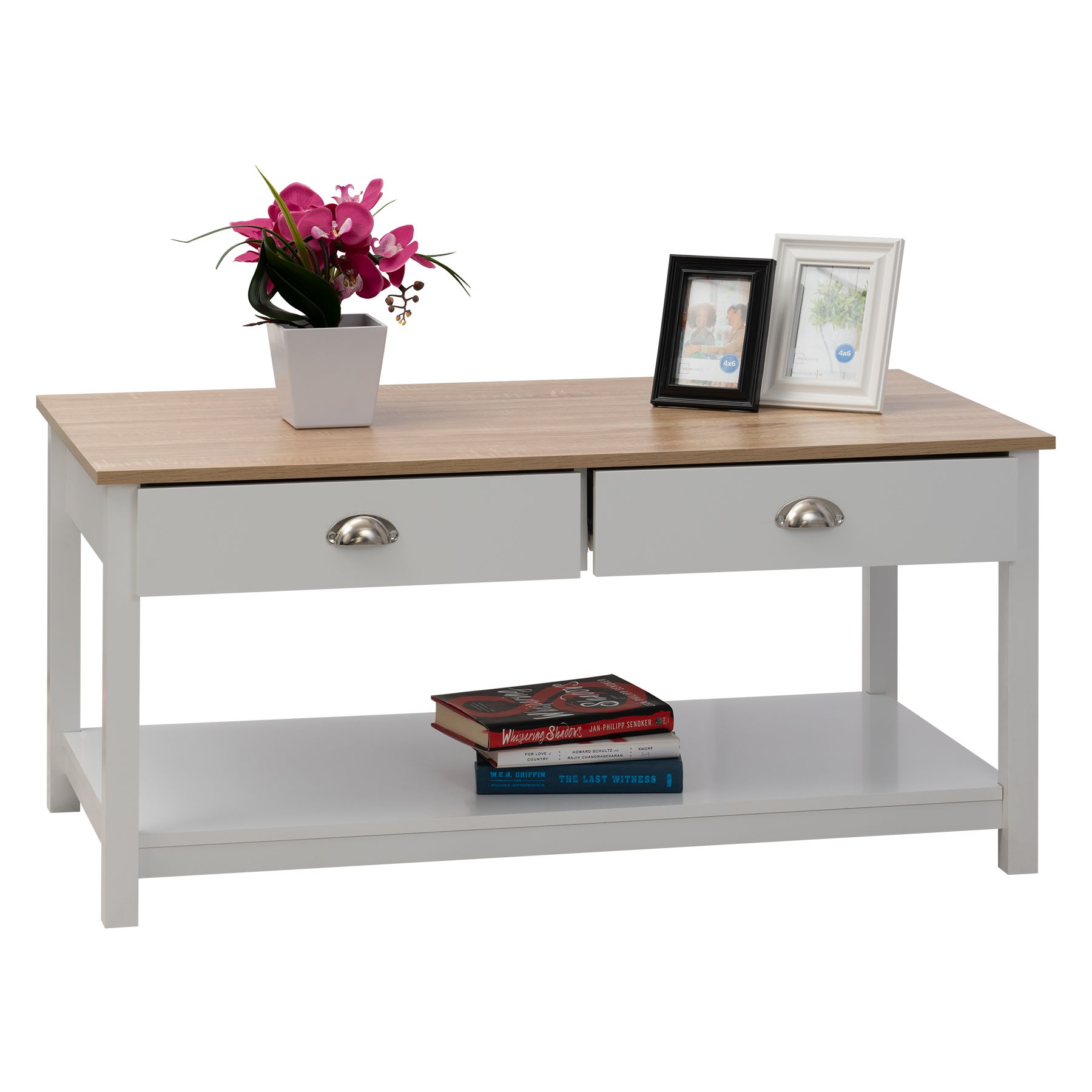 Fineboard Fineboard Coffee Table With 2 Drawers And 1 Large Storage Shelf White Beige